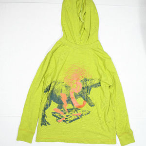 Circo Light Knit Hoodie Green Yellow With Orange